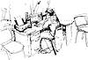 Skizze des Menschen im Büro arbeiten am Computer