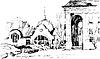 Schwarz-Weiß-Skizze der Stadtlandschaft