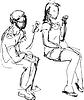 Skizze Kerl und Mädchen essen Eis