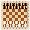 Schachbrett mit Schachfiguren.