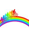 Silhouette der Radfahrer Regenbogen männlich.