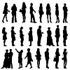 Schwarze Silhouetten von schönen mans und womans