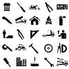 Sammlung flache Ikonen. Bau Symbole