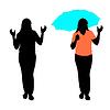 Silhouette der Mädchen mit einem Regenschirm.