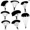 Set Fallschirmspringer, Fallschirmspringen Silhouetten
