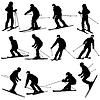 Bergmann Skifahrer Abhang hinunter zu beschleunigen. Sport