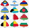 Set Flaggen der Welt souveräner Staaten in Form