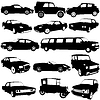 Set schwarz Silhouetten verschiedener Arten von Autos ba