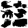 ID 4202659 | Landwirtschaftliche Fahrzeuge Silhouetten festgelegt. | Stock Vektorgrafik | CLIPARTO