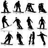 Schwarze Silhouetten Snowboarder. ich
