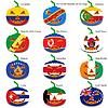 Set Kürbisse für Halloween als Flaggen der Welt. illus