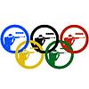 Biathleten Sportler und Olympiaringe