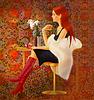 Mädchen ein Rotwein | Stock Illustration