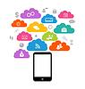 Smart-Gerät mit Wolke der Anwendungssymbole,