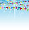 Holiday-Hintergrund mit Fahnen und Konfetti Geburtstag