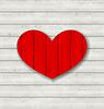 Rote Herzen auf hölzernen Hintergrund für Valentinstag