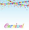 Karneval Hintergrund mit Fahnen, Konfetti, Text