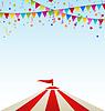 Circus gestreiften Zelt mit Fahnen