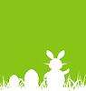 Cartoon grünen Hintergrund mit Osterhase und Eier