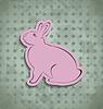 Ostern glücklich Vintage-Poster mit rosa Hase