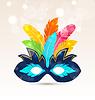 Bunte Karneval oder Theater-Maske mit Federn