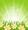 Frühling Hintergrund mit grünem Gras und Blumen