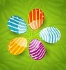 Ostern eingestellt bunten ornamentalen Eier auf grünem