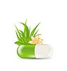 Naturalne pigułka medycznych z liści, kwiatów, trawy | Stock Vector Graphics