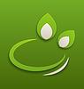 Etikett mit grünen Blättern Papier