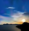 Natur Hintergrund, Meer, Berge, Sonne, Himmel während