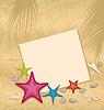 Sand Hintergrund mit Papierkarte, Seesterne,