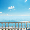 White balcony over sea and blue sky | Stock Foto