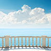 Cloudy sky over sea and balcony | Stock Foto