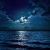 Mondlicht über dem Wasser in dunkler Nacht | Stock Foto