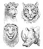 Satz von Safari Kopf Tiere, schwarz und weiß-Skizze