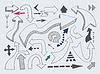 Hand zeichnen verschiedene Pfeile Set, Marker doodle