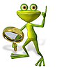 Green frog with magnifying | Stock Illustration