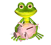 Green frog with piggy bank | Stock Illustration