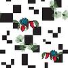 Hintergrund mit Quadraten und Blumen