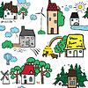 Nahtlose Muster mit Häusern