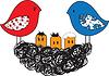 Vogel und Nest mit Küken