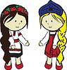Slawischen Mädchen in Kostümen