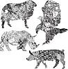Векторный клипарт: набор животных в этнических украшений