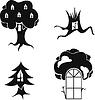 Vektor stilisierten Bild der Bäume mit Fenstern und