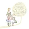 Einkaufs Mutter mit Tochter und Wortwolke