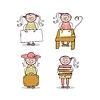 Kleines Mädchen Cartoons Set