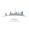Stadt Dubai UAE Skyline Silhouette auf weißem Hintergrund