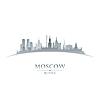Moskau Russland die Skyline der Stadt-Silhouette weiß