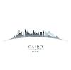 Kairo Ägypten Skyline Silhouette auf weißem Hintergrund