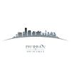 Durban Südafrika Skyline Silhouette weiß